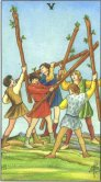 five of wands tarot card - free online reading